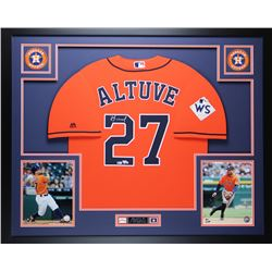 "Jose Altuve Signed 35"" x 43"" Custom Framed Jersey (Fanatics  MLB Hologram)"