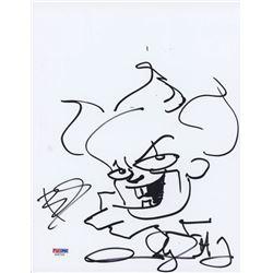 Bill Skarsgard  Andy Muschietti Signed 8.5x11 Cut with Original Sketch (PSA COA)