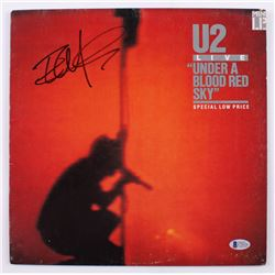 """The Edge Signed U2 """"Under A Blood Red Sky"""" Vinyl Record Album Cover (Beckett Hologram)"""