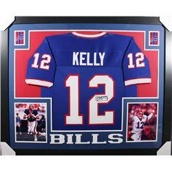Jim Kelly Signed 35x43 Custom Framed Jersey (JSA COA)