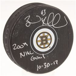 """Brad Marchand Signed Boston Bruins Logo Hockey Puck Inscribed """"200th NHL Goal 10-30-17"""" (Marchand Ho"""