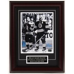 Patrice Bergeron  Brad Marchand Signed Boston Bruins 13.75x17.75 Custom Framed Photo Display (Berger