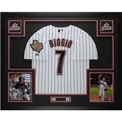 """Craig Biggio Signed 35x43 Custom Framed Jersey Inscribed """"HOF 15"""" (TriStar Hologram)"""