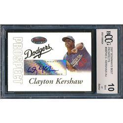 2007 Bowman's Best Prospects #BBP45 Clayton Kershaw Autographs RC (BCCG 10)