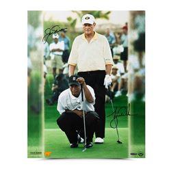 "Jack Nicklaus  Tiger Woods Signed ""Match Play"" 16x20 Photo (UDA COA)"