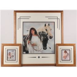 """Lot of (3) Maija Custom Framed Print Displays With (1) Signed  Inscribed """"Best Wishes"""" (PA LOA)"""