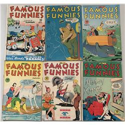 """Lot of (6) 1945 """"Famous Funnies"""" Comic Books with #131-134, 136  137"""