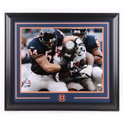 "Brian Urlacher Signed Chicago Bears 23.5x27.5 Custom Framed Photo Inscribed ""Monsters of the Midway"""