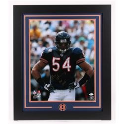 "Brian Urlacher Signed Chicago Bears 23.5x27.5 Custom Framed Photo Inscribed ""HOF 2018"" (JSA COA)"