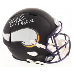 """Randy Moss Signed Minnesota Vikings Full-Size Matte Black Speed Helmet Inscribed """"HOF 18"""" (JSA COA)"""