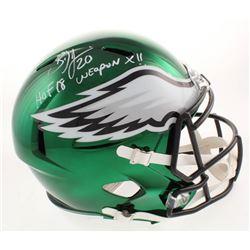 "Brian Dawkins Signed Philadelphia Eagles Full-Size Chrome Speed Helmet Inscribed ""HOF 18""  ""Weapon X"