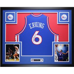 "Julius Erving Signed 35"" x 43"" Custom Framed Jersey (JSA COA)"