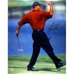 "Tiger Woods Signed ""Fist-Pump"" 16x20 Photo (UDA COA)"