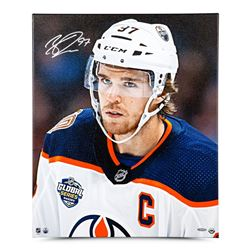 "Connor McDavid Signed Edmonton Oilers ""Looking On"" 20x24 Photo on Canvas (UDA COA)"