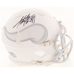 Adrian Peterson Signed Minnesota Vikings White ICE Mini Speed Helmet (Beckett COA)