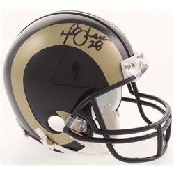 Marshall Faulk Signed St. Louis Rams Throwback Mini Helmet (JSA COA)
