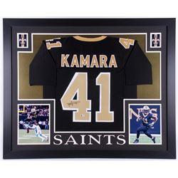 Alvin Kamara Signed 35x43 Custom Framed Jersey (Beckett COA)