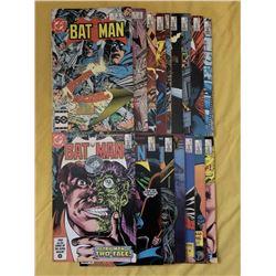 """Lot of (16) 1985-87 """"Batman"""" DC Comic Books"""