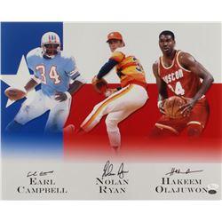 Earl Campbell, Nolan Ryan,  Hakeem Olajuwon Signed 16x20 Photo (JSA COA  Ryan Hologram)
