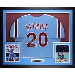 """Mike Schmidt Signed 35x43 Custom Framed Jersey Display Inscribed """"HOF 95"""" (Fanatics Hologram)"""