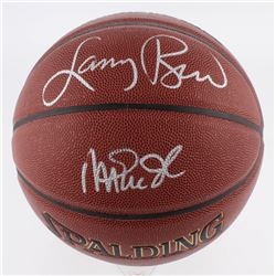Larry Bird  Magic Johnson Signed NBA Basketball (Schwartz COA  Bird Hologram)