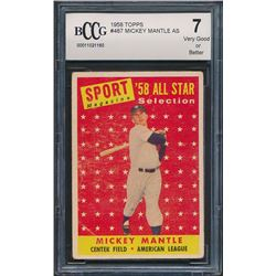 1958 Topps #487 Mickey Mantle All-Star (BCCG 7)
