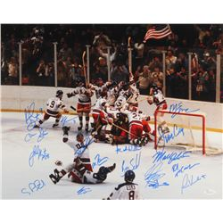 "1980 Team USA ""Miracle On Ice"" 16x20 Photo Signed by (17) with Mike Eruzione, Jim Craig, Neal Broten"