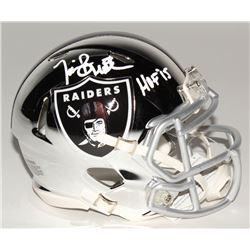 "Tim Brown Signed Oakland Raiders Chrome Speed Mini Helmet Inscribed ""HOF 15"" (Radtke COA)"