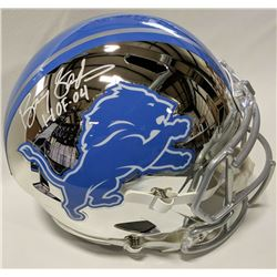 """Barry Sanders Signed Detroit Lions Full-Size Chrome Speed Helmet Inscribed """"HOF 04"""" (Beckett COA  Sc"""