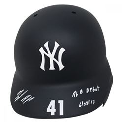 "Miguel Andujar Signed New York Yankees Road Model Matte Full-Size Batting Helmet Inscribed ""MLB Debu"