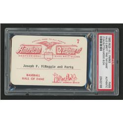 Joe DiMaggio 1983 Official American League Parks Working Pass (PSA Authentic)