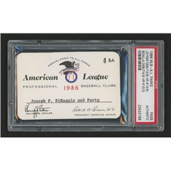 Joe DiMaggio 1986 Official American League Parks Working Pass (PSA Authentic)