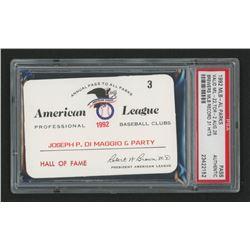 Joe DiMaggio 1992 Official American League Parks Working Pass (PSA Authentic)