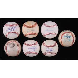 Lot of (7) Signed Baseballs with Tim Raines, Colby Rasmus, Mason Williams, Frank Tanana, Garrett Jon