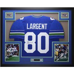 "Steve Largent Signed 35x43 Custom Framed Jersey Inscribed ""HOF 95"" (JSA COA)"