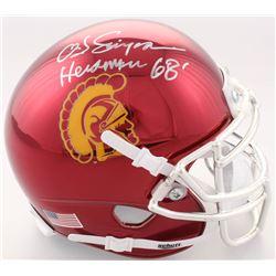 "O.J. Simpson Signed USC Trojans Chrome Mini Helmet Inscribed ""Heisman 68'"" (JSA COA)"
