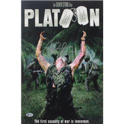 """Charlie Sheen Signed """"Platoon"""" 12x17 Photo (Beckett COA)"""