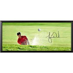 "Tiger Woods Signed Breaking Through ""Precision"" 18x44 Custom Framed Photo with Bridgestone Golf Ball"