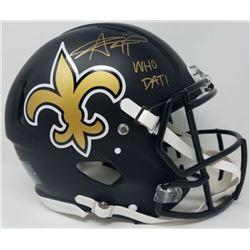 Alvin Kamara Signed New Orleans Saints Full-Size Matte Black Authentic On-Field Speed Helmet Inscrib