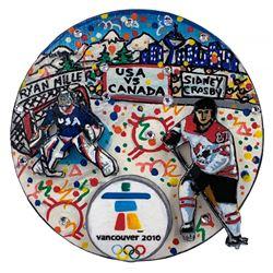 Charles Fazzino Painted  3D Pop Art 2010 Winter Olympics Team USA vs. Team Canada Hockey Puck