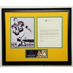 Bart Starr Signed Green Bay Packers 18x22 Custom Framed Letter Display (JSA COA)