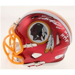 "Dwayne Haskins Signed Washington Redskins Chrome Speed Mini Helmet Inscribed ""HTTR!"" (JSA COA)"