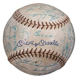 New York Yankees Legends Baseball Team-Signed by (26) with Mickey Mantle, Yogi Berra, Whitey Ford, P