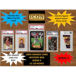 ICON AUTHENTIC  100% GRADED CARD MYSTERY BOX - SERIES 4 (Guaranteed (1) Graded PSA or Beckett card i