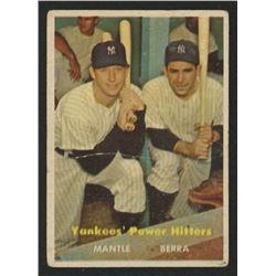 1957 Topps #407 Yankees Power Hitters / Mickey Mantle / Yogi Berra