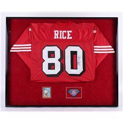 Jerry Rice Signed 32x40.25x2.75 Custom Framed Shadowbox Jersey Display (JSA COA)