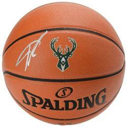 Giannis Antetokounmpo Signed Milwaukee Bucks Logo NBA Game Ball Series Basketball (Fanatics Hologram