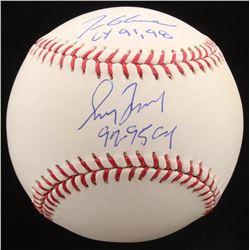 "Tom Glavine  Greg Maddux Signed OML Baseball Inscribed ""CY 91, 98""  ""92-95 CY"" (Radtke COA)"