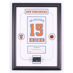 """Dick McGuire New York Knicks 16.5"""" x 22.5"""" Custom Framed Display with a Championship Court Piece (St"""