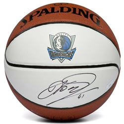Dirk Nowitzki Signed Dallas Mavericks Logo Basketball (Panini COA)